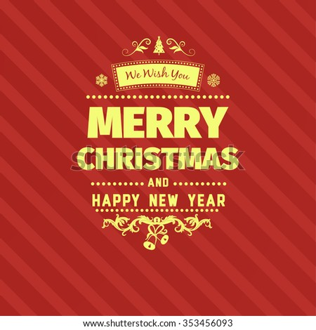 Vintage retro flat style trendy Merry Christmas card and New Year wish greeting. Vector illustration with yellow text inscription on red background for wallpaper, magazine, wallpaper, booklets - stock vector