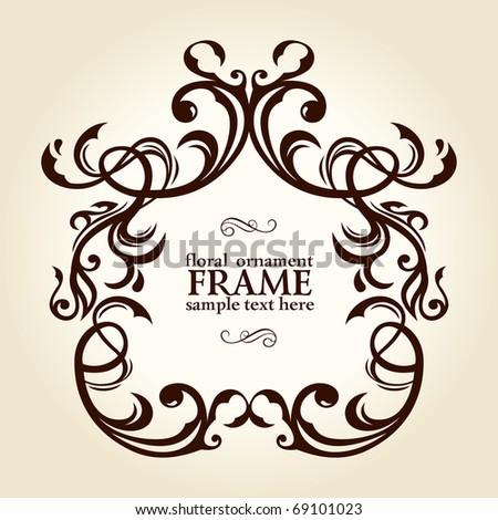 vintage retro floral frame ornament vector illustration - stock vector