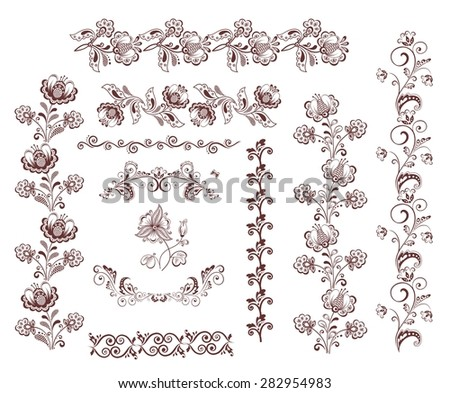 Vintage retro floral seamless borders and design elements - stock vector