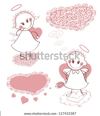 Vintage, retro. Funny little angels holding hearts. Angel girl and angel boy. Labels in the form of clouds and hearts. They can write the text. - stock vector