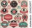 Vintage retro grunge coffee and restaurant labels, badges and icons - stock vector