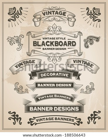 Vintage retro hand drawn banners - Vector illustration with texture added. Ribbon and banner design set for menus, greeting cards and festive occasions.  - stock vector