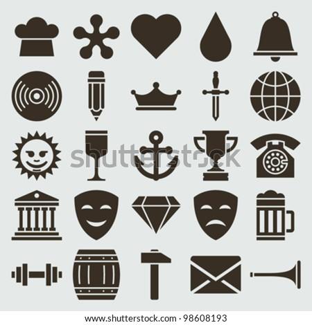 Vintage retro icons set. Vector design elements. - stock vector