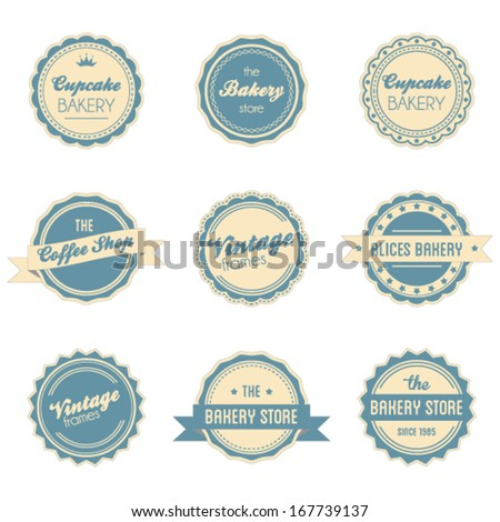 Vintage retro label frames set - stock vector