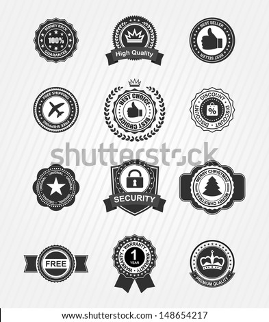 vintage retro labels collection - stock vector