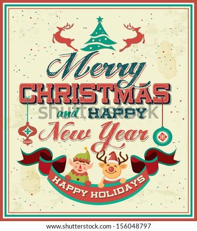 Vintage Retro Merry Christmas Poster - stock vector