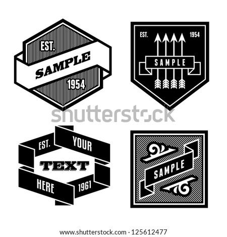 vintage retro monochrome label with ribbon - stock vector