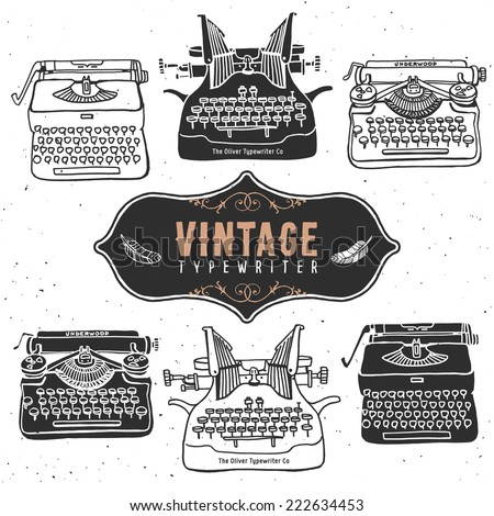 Vintage retro old typewriter collection. Hand drawn vector illustrations. Vol.1 - stock vector