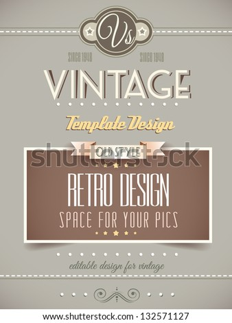 Vintage retro page template for a variety of purposes: website home page, old style flyers, book covers or vintage posters. - stock vector