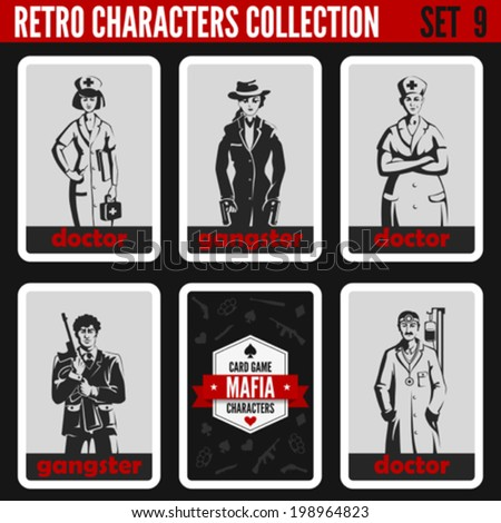Vintage retro people collection. Mafia noir style. Gangsters, Doctors.  Professions silhouettes. - stock vector