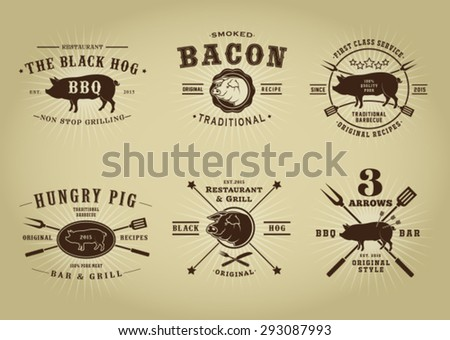 Vintage Retro Pork Barbecue Bar Restaurant Seals Collection - stock vector