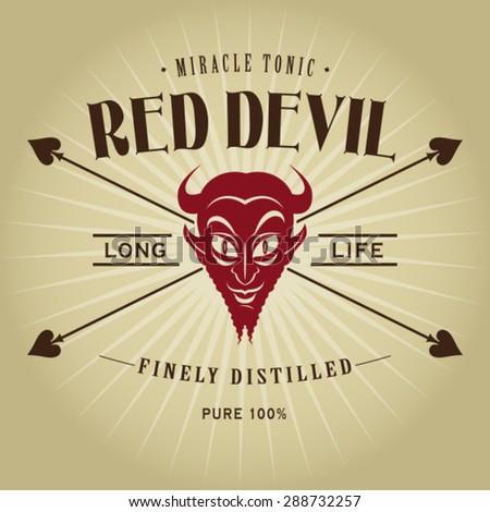 Vintage Retro Red Devil Seal  - stock vector