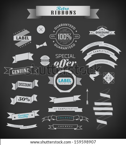 vintage retro ribbons and labels. Vector illustration/ old style - stock vector