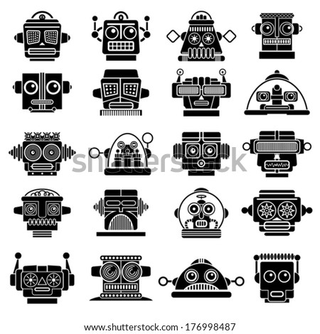 Vintage Retro Robot Heads - stock vector