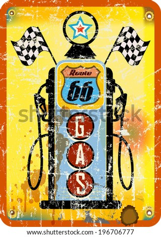 vintage retro route 66 gas staion sign, vector illustration - stock vector