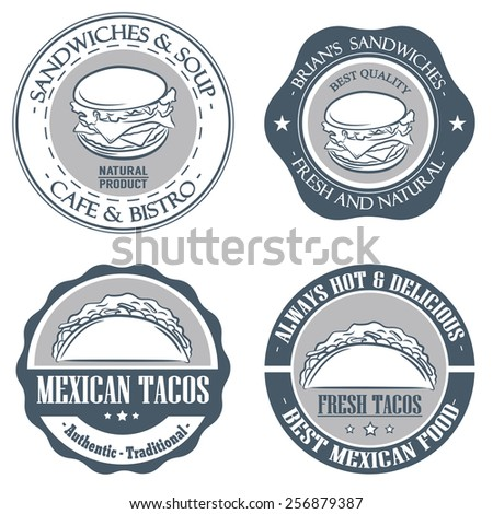 Vintage Retro set label and emblem of sandwiches, burgers and taco - stock vector
