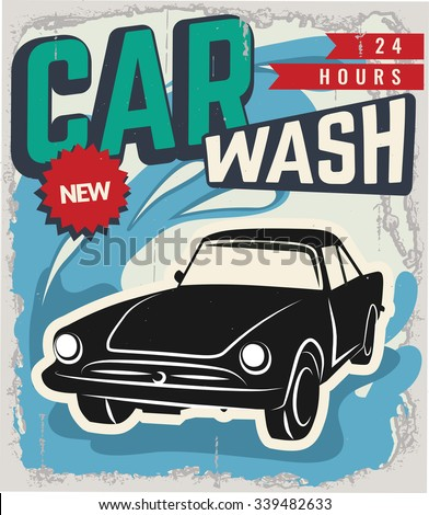 Vintage retro stile. Wash car vector flyer template. You can use it for grange background, banner, label. - stock vector