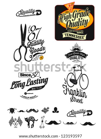 Vintage, Retro Styled Premium Quality And Satisfaction Guarantee Label Collection - stock vector