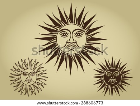 Vintage Retro Sun Illustration Set - stock vector