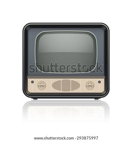 Vintage retro tv set icon. Eps10 vector illustration. Isolated on white background - stock vector