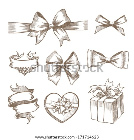 Vintage ribbon bow banners, hand drawn set - stock vector