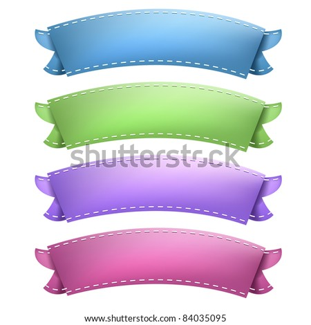 Vintage Ribbons Set, Isolated On White Background, Vector Illustration - stock vector