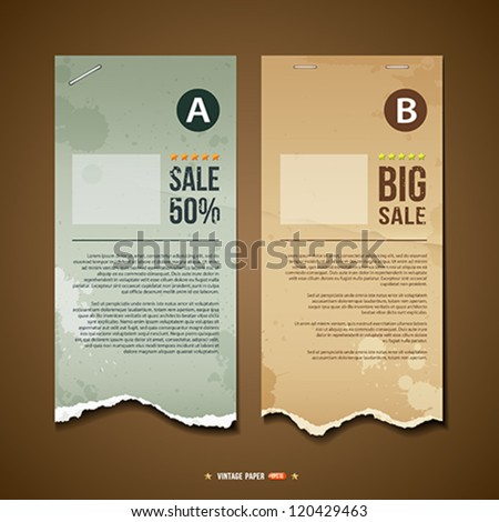 Vintage Ripped paper for business design background, vector illustration - stock vector