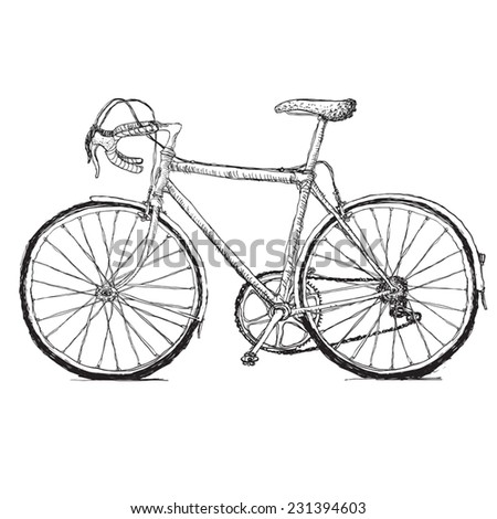 Vintage road bicycle hand drawn illustration - stock vector