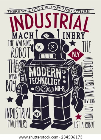 vintage robot design - stock vector