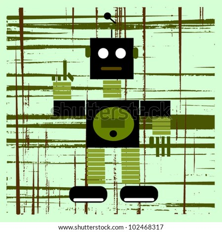 vintage robot graphic design - stock vector