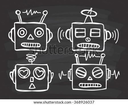 vintage robot head on chalkboard background - stock vector