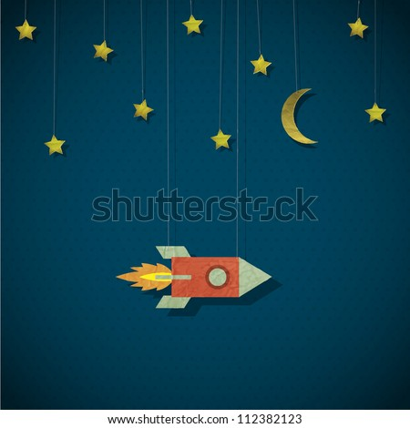 Vintage rocket in space. Vector paper-art - stock vector