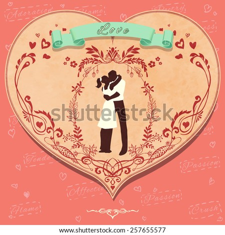 "Vintage romantic card ""Love"" with lovers silhouette (texture are removable) - stock vector"