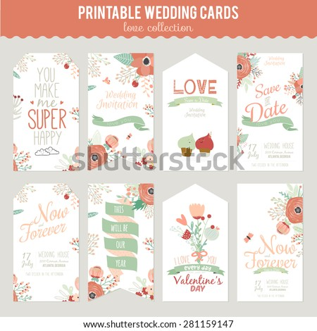 Vintage romantic floral Save the Date invitation in bright colors in vector. Wedding calligraphy card template with greeting labels, ribbons, hearts, flowers, arrows, wreaths, laurel. - stock vector