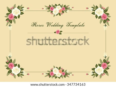 Vintage Roses Wedding vector template: for Wedding / Valentines template and other related events that filled with love and harmony - stock vector