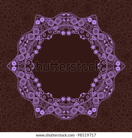 Vintage Round Lace Frame. Violet Ornament Element on Dark Brown Background. Vector Card - stock vector