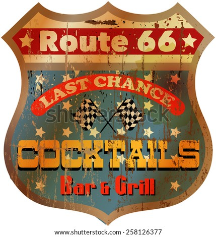 Vintage route 66 cocktail bar sign, vector illustration - stock vector