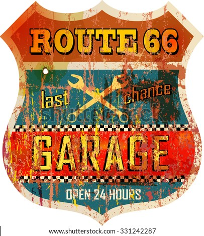 Vintage route sixty six garage sign, vector illustration, fictional artwork - stock vector