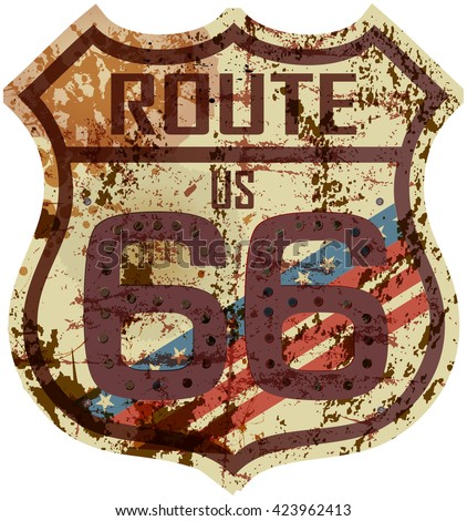 vintage route sixty six road sign, retro style, fictional artwork, grungy vector illustration - stock vector
