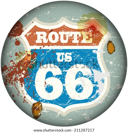 vintage route sixty six road sign, retro style, vector illustration - stock vector