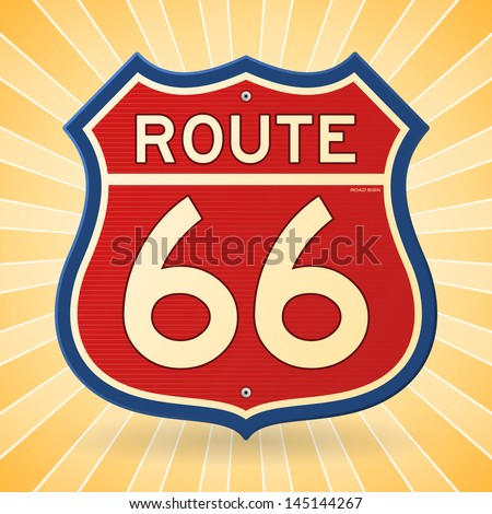 Vintage Route 66 Symbol - stock vector