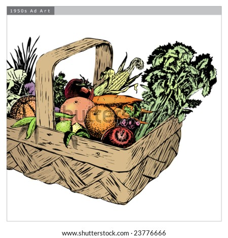 Vintage 1950s Harvest Basket of fruit and vegetables in a basket; detailed black and white from authentic hand-drawn scratchboard includes full colorization. Basket is complete. - stock vector