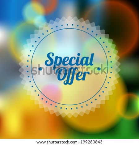Vintage sale discount Special offer button on modern blurred background, 10 EPS - stock vector
