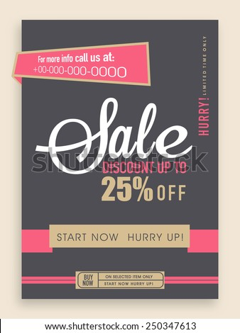 Vintage sale flyer, banner or template design with best discount offer. - stock vector