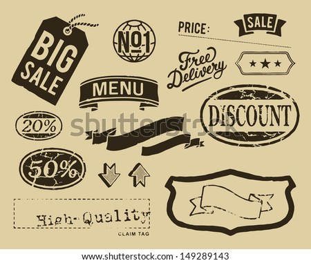 Vintage sale graphic elements set - stock vector