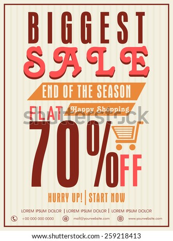 Vintage Sale poster, banner or flyer design with flat discount offer. - stock vector