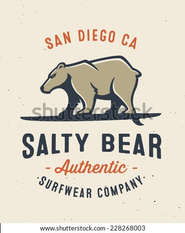 Vintage 'Salty Bear' t-shirt apparel print fashion design, graphic tee, vector illustration of bear on surfboard, Surfing Inspired Art - stock vector