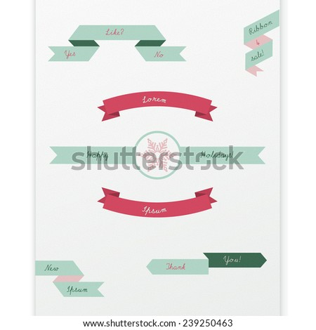 Vintage scalable eps10 vector ribbon set for web page banner, label design, holiday advertisement - red, green, pink version - stock vector