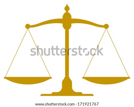 Vintage scale in balance and equilibrium - stock vector