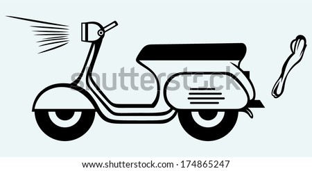 Vintage scooter. Image isolated on blue background - stock vector